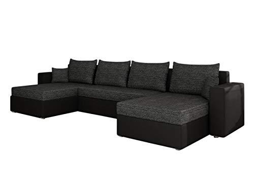 Mirjan24 Ecksofa Sofa Couchgarnitur Couch Rumba! Wohnlandschaft mit Schlaffunktion und Bettkasten, Ecksofa in U-Form, Polstermöbel, Farbauswahl, Kissen-Set (Soft 011 + Lawa 06)