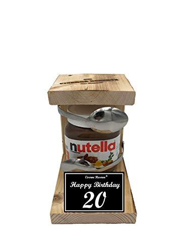 * Happy Birthday 20 Geburtstag - Eiserne Reserve ® Löffel mit Nutella 450g Glas - Das ausgefallene originelle lustige Geschenk - Die Nutella - Geschenkidee