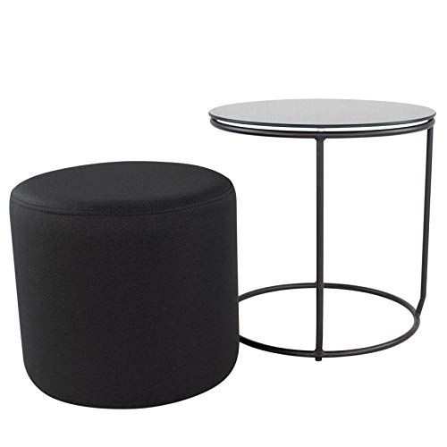 i-flair Nachttisch Beistelltisch mit Hocker Jasper runder Couchtisch und Pouf 40x40 cm N2 Schwarz - Schwarz - Schwarz