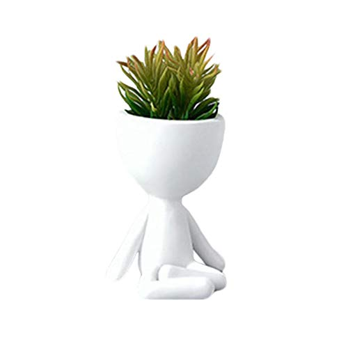 GOUER Blumentopf, Nordic Statue Modellraum Pflanzgefäß, Kopf Design Sukkulenten Blumentopf, körperförmige Vase, süße Kaktuspflanzen Blumentopf, (Keine Pflanze)