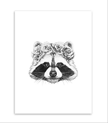 byht Leinwand Schwarz Und Weiß Tierbilder Hd-drucke Katze Lustige Wandkunstwerk Modular Minimalistischen Poster Für Kinderzimmer Wohnkultur Ma65P 40 * 60 cm Rahmenlose