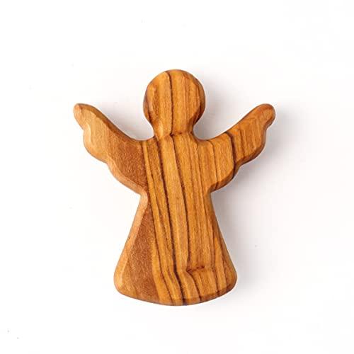 KASSIS Olivenholz Schutzengel Glücksbringer Handschmeichler Engel Figur Weihnachtsdeko Geschenk zur Geburt Taufe Kommunion Firmung Jahrestag handgemacht in Bethlehem 6 cm (1 Stück)