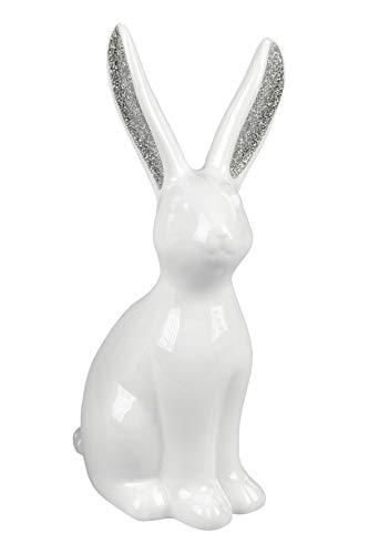 formano Keramik Hase weiß Silber Glitter 19 cm Frühlingsdeko Osterdeko Osterhase Ostern