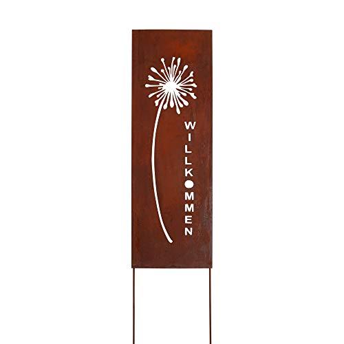 RM Design Gartendeko Gartenstecker aus Edelrost Metall Schild Pusteblume 133 cm für Garten Terrasse oder Balkon