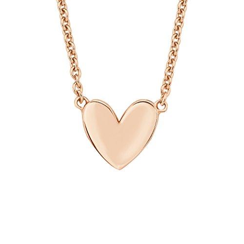 s.Oliver Kette mit Anhänger für Damen Herz, 925er Sterling Silber rosévergoldet