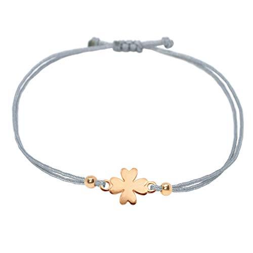 Glücksarmband - Kleeblatt Armband Rosegold - Selfmade Jewelry Glücksbringer Armkettchen Handmade In Germany - Inkl. Geschenkverpackung/Schmucksäckchen (Rosegold - Grau)