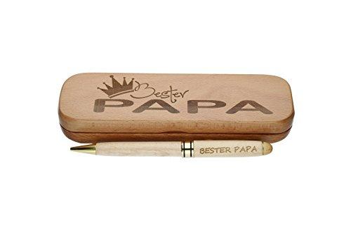 Kugelschreiber mit Gravur'Bester Papa' in Geschenk-Schachtel aus Holz die Geschenkidee Stift graviert