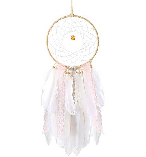 BAKHK Weiß Rosa Traumfänger mit Feder Handgemachte Dream Catchers Indianer Gute Träume für Mädchen Kunsthandwerk Wandbehang Hochzeit Auto Dekoration Geschenke