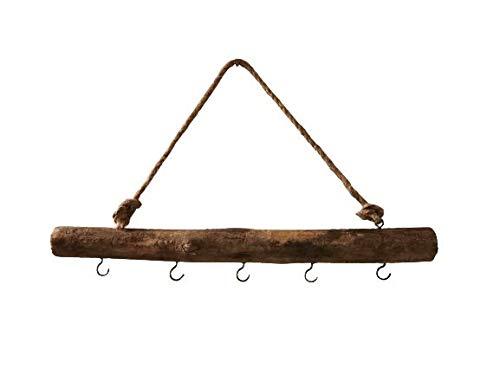 Homefine Deko Ast zum Aufhängen mit 5 Haken aus treibholz handmade