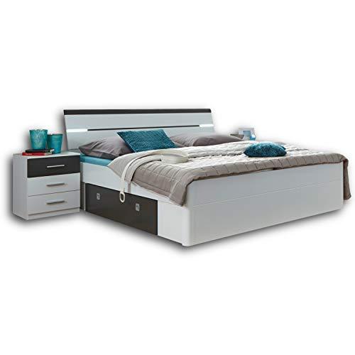 Stella Trading MARS Stilvolle Doppelbett Bettanlage 180 x 200 cm mit 2x Nachtkommoden - Schlafzimmer Komplett-Set in weiß / Lava-Optik - 216 x 97 x 185 cm (B/H/T)