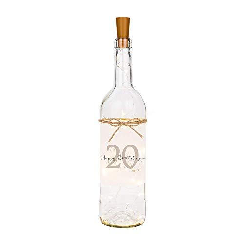 Manufaktur Liebevoll Flaschenlicht Happy Birthday 20 - Persönliches Geschenk zum Geburtstag - Flasche mit stimmungsvoller LED Beleuchtung