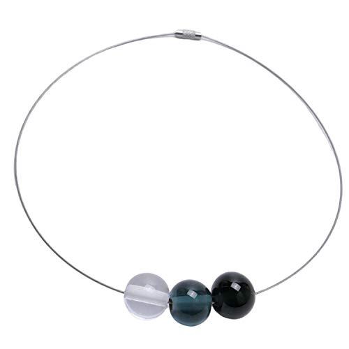 Halsreif mit Glas-Perlen aus Murano-Glas in Grau-Tönen | Unikat personalisiert handgemacht| Personalisiertes Geschenk für sie zu Valentinstag Jahrestag Hochzeit Geburtstag Weihnachten Muttertag