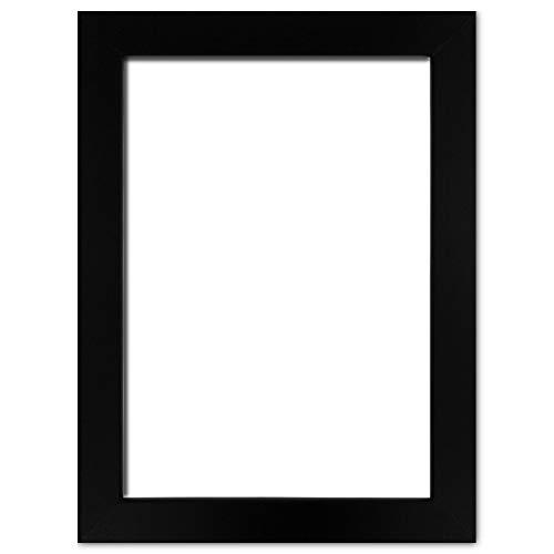 Holzwerkstoff Bilderrahmen Carla 35 x 50 cm mit weißer Rückwand 50x35 cm, Hier Schwarz matt mit Kunststoffglas Antireflex 1mm