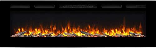 RICHEN Elektrokamin Fiamma - Elektrischer Einbaukamin (173 cm / 68') Mit Heizung, LED-Beleuchtung, 3D-Flammeneffekt & Fernbedienung - Elektrischer Kamin Schwarz