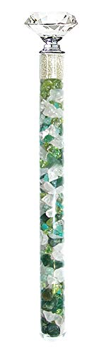 Edelsteinstab Wasserstab Erzengel Raphael mit Rohdiamanten