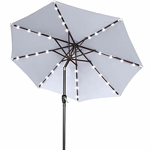 ABCCANOPY 230cm Gartenschirm Sonnenschirm neigbar mit 32 Solar-LED-Lichtern,für Garten,Deck,Schwimmbad,Sandstrand,Hellgrau