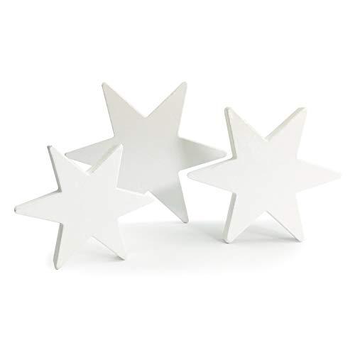 Oblique Unique® Holz Sterne 3er Set Weiß Holzdeko Weihnachtsdeko Tischdeko Weihnachten Echtholz