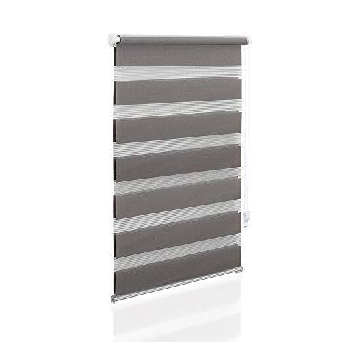 Eurohome Doppelrollo Klemmfix ohne Bohren, Duo Rollo,80cm x 150cm (Stoffbreite 76 cm) Grau Transparentes und undurchsichtiges Sichtschutz Rollo mit Klemmträgern für Fenster