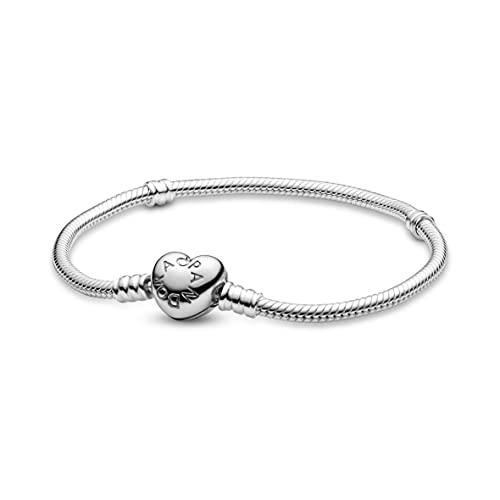 Pandora Moments Schlangen-Gliederarmband mit Herz-Verschluss, Silber, 18 cm