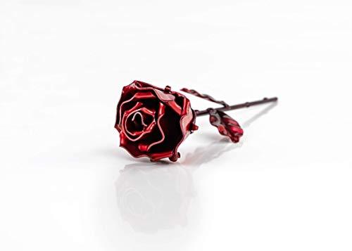 Eisen Schmiede ewige Rose Rot - Handgeschmiedet
