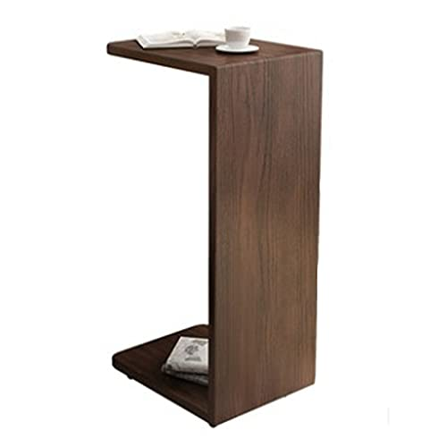 Sofa-Beistelltisch Massivholz Beistelltisch Mobile C- förmige Ecktisch Kleine Wohnung Nachttisch Sofa Couchtisch Kleine Tischseitentisch (Farbe : Brown1, Size : 65x28x35.8cm)