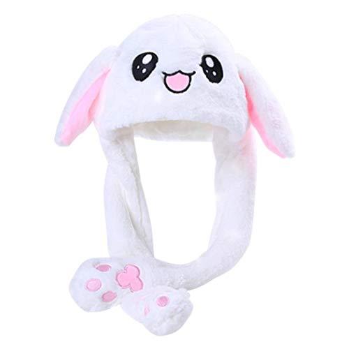dressfan Frauen Mädchen lustiger Plüsch Bunny Mütze Kaninchen Ohren Hut Spielzeug Geburtstags Geschenk das Drücken der Häschen Kappe Macht die Ohren des Kaninchens Sich bewegen