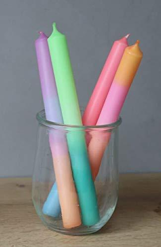 4er-Pack handgetunkte Dipdye Kerzen, Neon mit Farbverlauf