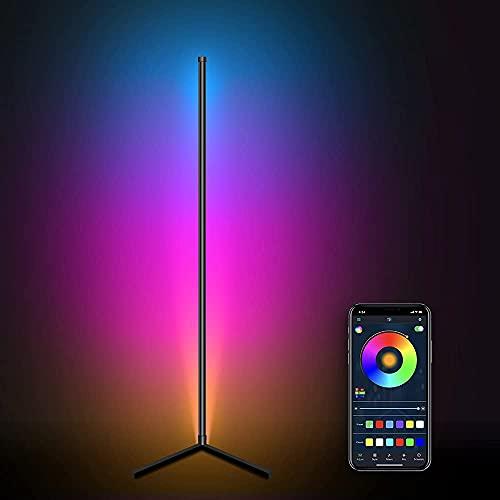 LED Stehlampe Dimmbar,TOCLL Stehlampe Farbwechsel Wohnzimmer mit Fernbedienung,App Steuerbar mit Musik Snyc,Timer,RGB Stehlampe mit 16 Millionen Farben,156cm, Stromversorgung via USB-Anschluss
