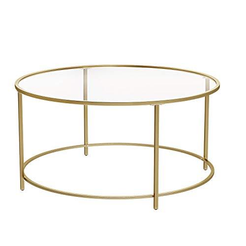 VASAGLE Couchtisch rund, Glastisch mit goldenem Stahlgestell, Wohnzimmertisch, Sofatisch, Robustes Hartglas, dekorativ, Gold LGT21G