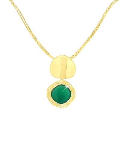 Gabriela Rigamonti Schmuck-Halskette in 18kt Gelbgold mit natürlichem Smaragdquarz. Cm43+3,5cm Verlängerung