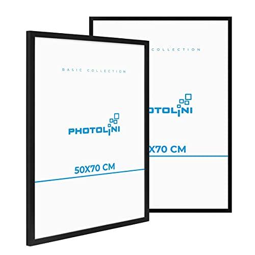PHOTOLINI 2er Set Poster-Bilderrahmen 50x70 cm Modern Schwarz aus MDF mit Acrylglas/Posterrahmen/Wechselrahmen