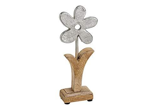 Deko Figur Blume Blümchen 30 cm, Mango Holz massiv natur braun Metall Blüte Alu silber, Holzdeko Aufsteller Frühling Ostern