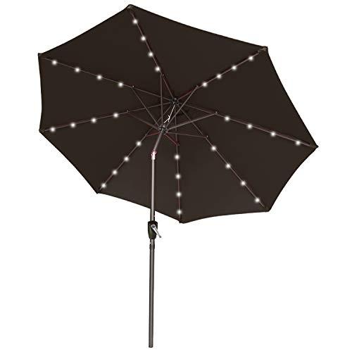 ABCCANOPY 275cm Gartenschirm Sonnenschirm neigbar mit 32 Solar-LED-Lichtern,für Garten,Deck,Schwimmbad,Sandstrand,Braun