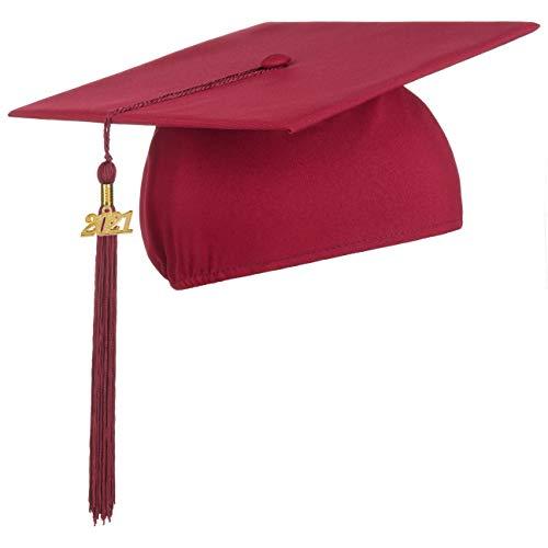 Lierys Doktorhut (Studentenhut) mit 2020 Jahreszahl Anhänger, Hut für Abschlussfeiern vom Studium an Universität, Hochschule oder Abitur, Absolventenhut in der Farbe Bordeaux-rot, Einheitsgröße