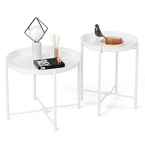 Homfa 2X Beistelltisch Couchtisch Wohnzimmertisch Kaffeetisch Nachttisch Satztisch Set mit abnehmbarem Tablett rund Metall Skandinavisches Design modern Weiß Groß(51.5x44.5cm),Klein(40.8x53.5cm)