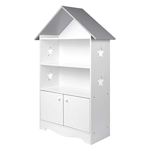 WOLTU KR006 Kinderregal Spielzeugregal mit Abschließbarer Tür, 3 Regale Bücherregal für Kinder, Mehrzweck Holz Aufbewahrungsregal im Kinderzimmer(Weiß)