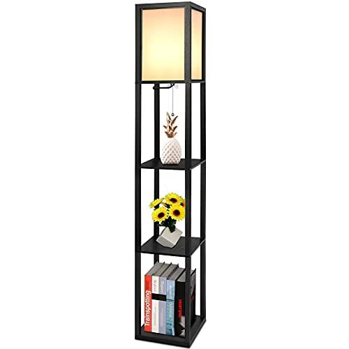 Aimosen Stehleuchte aus Holz mit 3 Regalen, 1.6m Stehlampe Regal Standleuchte mit Holzregal, Retro Hölzern Standlampe für Wohnzimmer Schlafzimmer, Nachttischlampe mit Lampenschirme, E27 Fassung