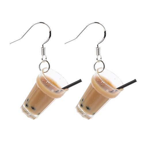 Hergon Lustige S925 Ohrhaken Harz Perle Milch Tee Getränk Ohrringe Frauen Schmuck Geschenk