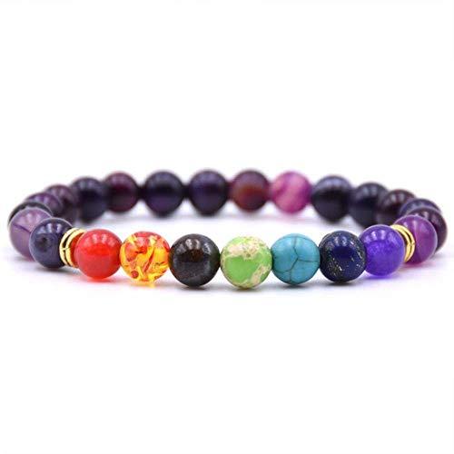 Obsidian 7 Chakra Armbänder & Armreifen Yoga Balancing Beads Buddha Gebet Elastisches Armband Männer Natursteinschmuck Geschenke pulsira, F.