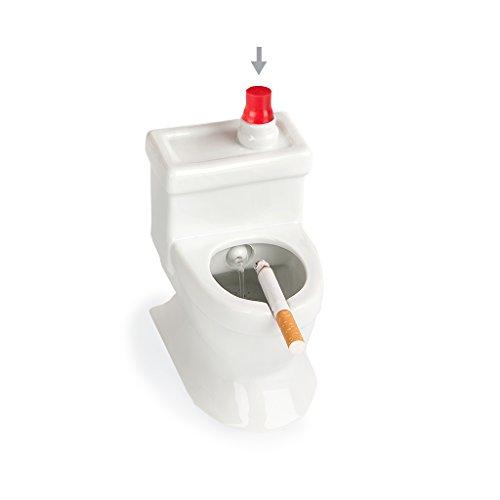 balvi Aschenbecher Flush! Farbe Weiß In Form Einer Toilette oder Wasserklosetts Mit Wasserbehälter zum Löschen der Zigarette Keramik