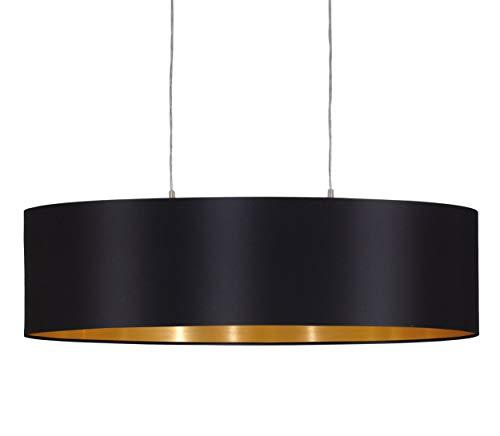 EGLO Pendellampe Maserlo, 2 flammige Textil Pendelleuchte, Hängeleuchte oval aus Stahl und Stoff, Farbe: nickel matt, schwarz, gold, Fassung: E27, L: 78 cm