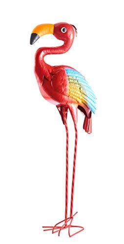 Metall-Gartenfigur , pulverbeschichtet, handbemalt, wetterfeste Deko-Figur für den Garten (roter Flamingo, Höhe: ca. 82 cm)