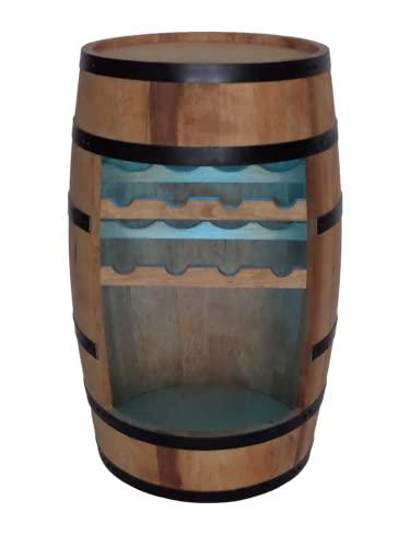 Weinregal Holz - Weinschrank Mini Bar - Weinschrank Mann und Frau - Barschrank mit LED-Leuchten - 80cm hoch - Retro deko Bar Regal - Hausbar Theke - Fassmöbel (Eiche)
