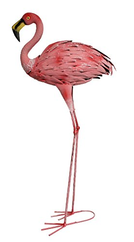 colourliving Flamingo Figur Teichfigur Metall Dekofigur Flamingofigur Gartendeko Teichdekoration Fischteich Metallfigur