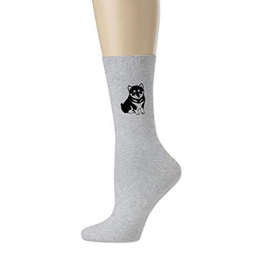 WU4FAAR Shiba Inu Crew-Socken, rutschfeste Socken, gemütliche Hausschuhe, für Damen und Herren, Schwarz Gr. Einheitsgröße, grau