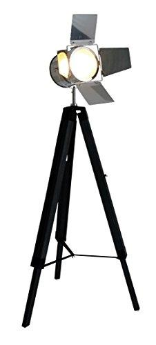NAEV5 Dreibein Stehleuchte Star Vintage, Retro, Nostalgie, schwarz, Metall^Holz, 71 x 56,5 x 140 cm