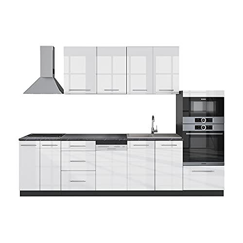 VICCO Küche Fame-Line Küchenzeile Küchenblock Einbauküche 295cm Hochglanz (Weiß Hochglanz)
