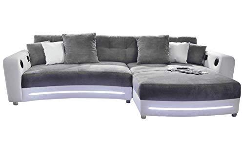 lifestyle4living Ecksofa in Weiß (Kunstleder) und Grau (Microfaser) inkl. Multimediapaket   Sofa hat 6 Kissen   Funktionssofa mit LED-Beleuchtung