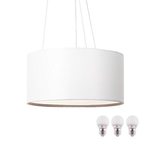 SEBSON Hängelampe weiß Textil, inkl. E27 LED Lampe 5W warmweiß, 40cm Durchmesser, Leuchte rund