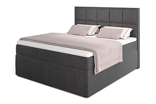 Dream Boxspringbett 200x200 mit 7-Zonen TFK Härtegrad H3 und Visco-Topper | Farbe Velour-Grau | 140-200 x 200 cm verfügbar | Wahlweise mit Bettkasten